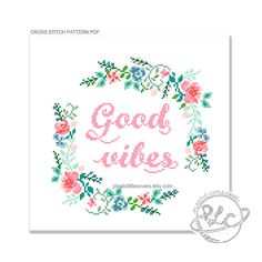 Good Vibes  Inspired by the peculiar phrase of recent times, this Good Vibes modern cross stitch pattern pdf cheerily invites some positive energy to head your way. Surrounded by a kitschy floral motif to give a twee and traditional feel.  Please be aware that this is a PDF cross stitch pattern, not the completed article. Your file will be made available for download via Etsy once payment has been confirmed.  The finished work will measure approximately 7 x 7 inches on 16 count.  You…
