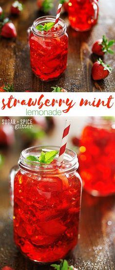 Cool & refreshing homemade strawberry mint lemonade made with a homemade strawberry-lemon simple syrup that is perfect for drinks, on…