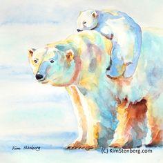 "Polar Bear Painting, Original Watercolor Animal Art, ""Piggyback Ride"" by Kim Stenberg, Rich Impressionistic Art, Matted 12 x 12"""