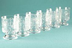 6 Vintage Becher Gläser Pressglas Pressgläser Dekor Abstrakt ~ 60er 70er H3B