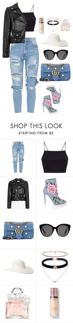 """Untitled #691"" by alibasicamina ❤ liked on Polyvore featuring Yves Saint Laurent, Gucci, Scala and Guerlain"