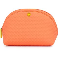 Tory Burch Beach Neoprene Rounded Cosmetic Case ($135) ❤ liked on Polyvore featuring beauty products, beauty accessories, bags & cases, orange crush, make up purse, make up bag, makeup purse, cosmetic purse and dop kit