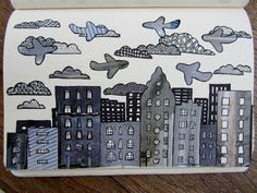 doodle landscape black and grey - doodle landschap zwart en grijs