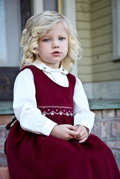 Girls Burgandy cord jumper winter dress with by CarouselWear, $52.97