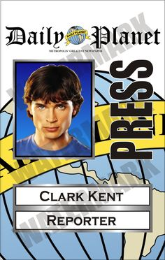 Clark Kent Daily Planet Press Pass (Superman; Tom Welling)