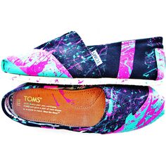 The Millie - Fuscia and Teal Neon Splatter Paint Custom TOMS ($125) ❤ liked on Polyvore