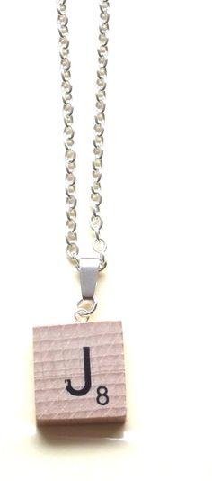 """Handmade Personalised 'J' Scrabble Necklace ~ 18"""" J Scrabble Necklace - Unique."""