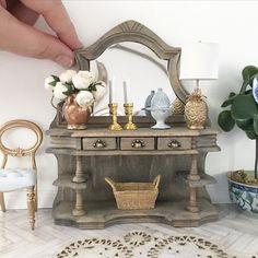 Antique French oak sideboard in 1/12 scale miniature #ad #dollhouse #miniature #antique #French #handmade