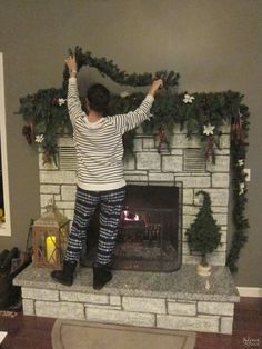 How to Decorate A Narrow Stone Mantel for Christmas {in 5 Minutes}