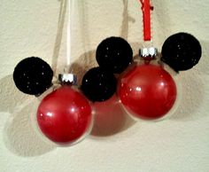 DIY Mickey Balloon Ornament Need: Red balloon, Styrofoam balls, Black Paint, Black Glitter, Hot Glue(Gun), Clear ornament. What to do: Paint and sparkle the styrofoam balls. Put the balloon inside of the ornament and then blow it up! Hot glue your sparkly mickey ears and voila! Fun and easy for kids