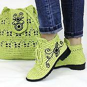 Льняные ботиночки вязаные сумка комплект