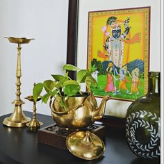 Indian inspired décor, brass vignettes, brass kettle, Indian decor