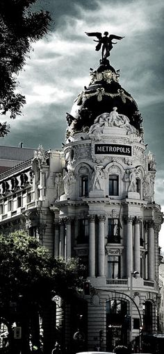 Madrid, metropolis Calle Gran via, Spain.will be taking Madrid there one day! She will love to see where she was named after! Beautiful Architecture, Beautiful Buildings, Beautiful Places, Modern Architecture, Chinese Architecture, Beautiful Castles, Places Around The World, Travel Around The World, Around The Worlds