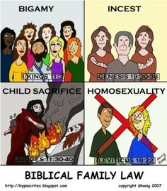 Religion, It's in the Bible, Bible Verse, Book of Kings, Genesis, Judges, Leviticus, Incest, Children, Torture, Death, Murder, Homosexuality, LGBTQIA, Bigotry, Homophobia, Cherry Picking. According to the Bible bigamy, incest, and child sacrifice: ok! Homosexuality: no. Screw Biblical family law.