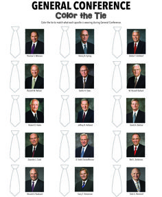 Color the tie that each apostle is wearing during General Conference.