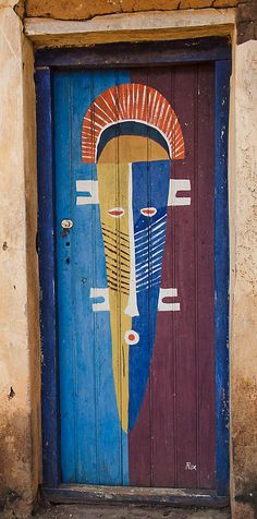 Africa | Painted door in Ghana | ©Sherrypaul, via flickr