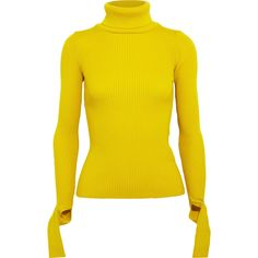 JacquemusCutout Ribbed Wool Turtleneck Sweater ($330) ❤ liked on Polyvore featuring tops, sweaters, yellow, wool turtleneck, woolen sweater, long wool sweater, turtle neck sweater and wool sweaters