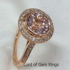 Bezel Round Cut 8mm Morganite Diamond,Real 14K Rose Gold Engagement Wedding Ring