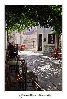 Cafe in Aperanthos village, Naxos Island, Kyklades, South Aegean_ Greece