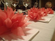 10 Coral-Island Pink Paper Dahlia Napkin Holders. Perfect for weddings, receptions, baby showers, home decor. Tissue paper pom pom flowers.