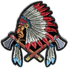 Small Indian Patch With Battle Axes and Feathers - 4x4 inch