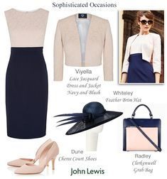 Viyella navy and blush pink shift dress matching jacquard lace jacket. Complete outfit for Mother of the Bride, Race Day and Wedding Guest.