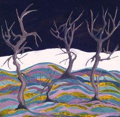 Pictura abstracta 100x100 acril pe panza. Padurea intunecata.