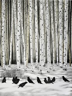 Blackbirds and birches.
