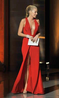 """femme fatale"" with a long red dress"