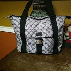 Lauren Ralph Lauren Nylon Bag EUC. Gray with black. Zip top. Ralph Lauren Bags Totes