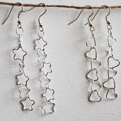 Falling Stars and Tumbling Hearts Earrings: Do you want to make an adorable pair of DIY earrings in under fifteen minutes? You are in luck! This tutorial shows you how to make not one, but two, fabulous pairs of cute homemade earrings.