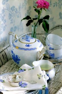 What a lovely blue & white china tea set!  So fresh, with a Swedish flavor.