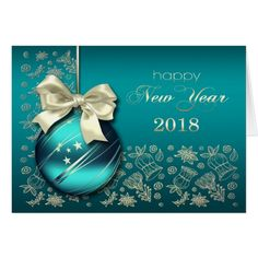 Happy New Year 2018. Elegant Festive Christmas Bauble design New Year's 2018 Postcards. Matching cards, postage stamps and other products available in the Christmas & New Year Category of the Mairin Studio store at zazzle.com