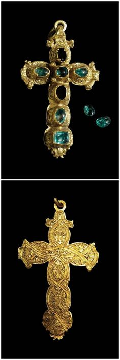 """Emerald Cross - This Gold and Emerald Cross was found inside of an ornate gold box that was sealed shut due to its centuries under water. Along with this magnificent Cross was a five-foot long chain and two spectacular emerald rings. Discovered on the site known as the """"cabin wreck"""" while exploring the 1715 Fleet, the Cross may well have been meant as a gift to Elizabeth Farnese, Duchess of Palma, from King Philip V of Spain."""