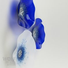 Sapphire Blue, Ocean Pool Blue and Bright Olive Green blown glass poppies