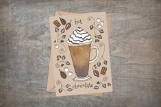 Hot Chocolate Greetings Card & Envelope - Whimsical Cosy Cocoa Marshmallow Winter Christmas Card - Coffee Shop Cup Caffeine Lovers Card Winter Christmas, Christmas Cards, Holiday Greeting Cards, Card Envelopes, Caffeine, Marshmallow, Hot Chocolate, Cosy, Coffee Shop