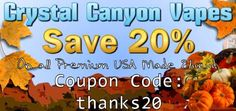 Thanksgiving Savings with 20% off all eliquid using coupon code thanks20  ccvapes.com