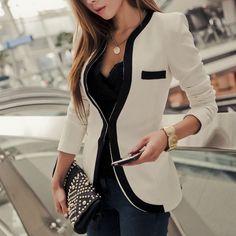 Kontrast Farbe Slim Fit Business Suit Kurz Jacke Figurbetonte Blazer Black for big sale!