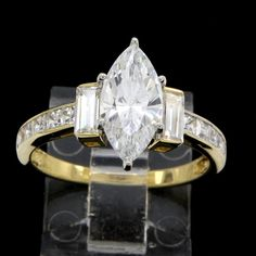 Estate 3.50ct Marquise Cut VVS Diamond 14k Yellow Gold Solitaire Engagement Ring #Prelovedjewelry #SolitaireEngagement #(F-52-1314-85)