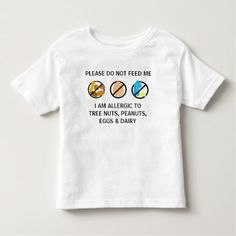 Customizable Nut Dairy Egg Allergy Alert Kids Shirt