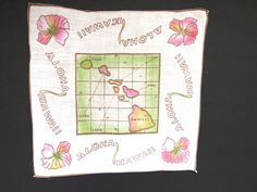 1950s Hawaii State Handkerchief - Hawaiian Islands Map Souvenir Hankie Hanky EUC #Unbranded #StateSouvenir