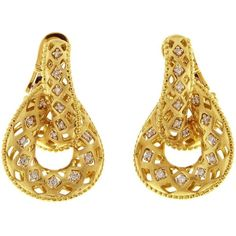 Chimento 18K White and Yellow Gold Olimpia Doorknocker Earrings with... ($4,845) ❤ liked on Polyvore featuring jewelry, earrings, 18k earrings, 18k gold jewelry, polka dot earrings, gold diamond jewelry and 18k diamond earrings