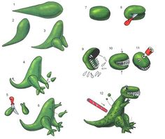 Fondant dinosaur tutorial, maybe use white sprinkles for teeth