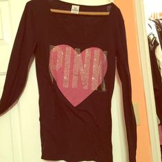 Victorias secret long sleeve shirt black with rims Nice shirt wore for a special ocasion . Like new PINK Victoria's Secret Tops Tees - Long Sleeve