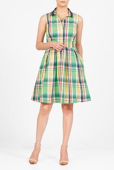 I <3 this Contrast collar woven check shirtdress from eShakti