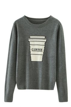 15a455eb13 Coffee Cup Pattern Round Neck Long Sleeve Knitted Sweater