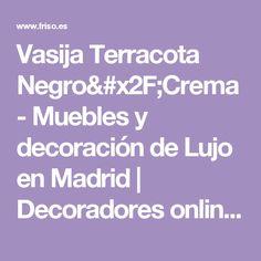 Vasija Terracota Negro/Crema - Muebles y decoración de Lujo en Madrid | Decoradores online | Friso Decoración