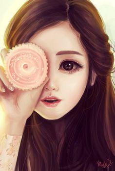 Another Semi realistic anime composition Korean Anime, Korean Art, Anime Art Girl, Manga Girl, Anime Girls, Girl Cartoon, Cartoon Art, Girly M, Digital Art Girl