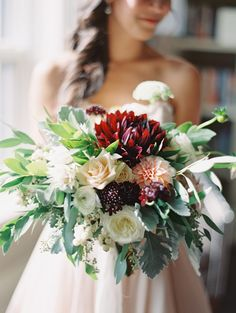 Loose bouquet comprised of burgundy and blush dahlias, ranunculus, garden roses, berries, and dusty miller Dahlia Wedding Bouquets, Dahlia Bouquet, Blush Bouquet, Rustic Wedding Flowers, Floral Wedding, Wedding Dress, Bridal Bouquets, Boho Wedding, Wedding Cake
