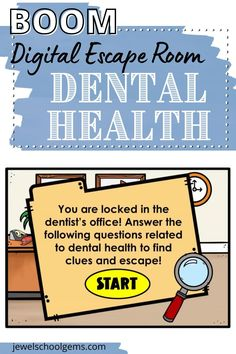 Looking for fun Dental Health Month activities for your students? Try this exciting digital escape room for elementary kids on Boom! Your students will find themselves locked in a dentist's office! They must answer dental health trivia questions and form the special word that will enable them to open the dental clinic door and escape! Click to learn more about this Boom Cards resource!